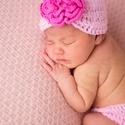Horgolt újszülött virágos rózsaszín szett babasapka + pelusbugyi, Horgolt újszülött virágos rózsaszín szett.  ...