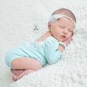 Újszülött menta body szett + fejpánt , A képen látható újszülött kék body és fejp...