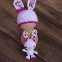 Horgolt nyuszi babasapka + nyuszi figura szett, Horgolt nyuszi babasapka és nyuszi figura szettbe...