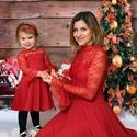 Karácsonyi anya-lánya szett, Gyerek & játék, Táska, Divat & Szépség, Baba-mama kellék, Ruha, divat, Női ruha, Boltomban ezt a képen látható anya-lánya szettet vásárolhatod meg.  Ebben a szettben Karácsonykor bi..., Meska