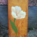 Kézzel festett bontott fára készült falikép, Otthon, lakberendezés, Falikép, Egyedi, bontott ajtó kazettára festett kézzel festett falikép.  Mérete: 29,5 X120. Akril festé..., Meska