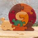 Csiga puzzle, Játék & Gyerek, Társasjáték & Puzzle, Famegmunkálás, Festett tárgyak, Égerfából készült dekoráció. Szétszedhető! Mindkét oldala festett! Gyerekjátékokra használt festékk..., Meska
