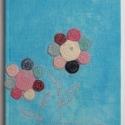 Tavaszi virágos füzet, Saját festésű, tavaszi ég színű lenvászon b...