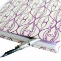 Lila elefántcsont szitanyomott napló - French ornate kollekció, Egyedi, saját tervezésű grafikával készült l...