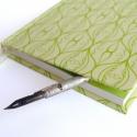 Halvány almazöld szitanyomott napló - French ornate kollekció, Egyedi, saját tervezésű grafikával készült h...