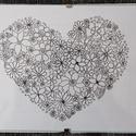 Virágos szív, Otthon & Lakás, Dekoráció, Kép & Falikép, Fotó, grafika, rajz, illusztráció, Tűfilccel, 160 grammos papírra készült saját tervezésű zentangle rajz. Keret nélküli képtartóban. M..., Meska