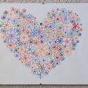 Színes virágos szív, Otthon & Lakás, Dekoráció, Kép & Falikép, Fotó, grafika, rajz, illusztráció, Kézzel rajzolt zentangle kép, 160 grammos papírra, tűfilccel. Keret nélküli üveg képtartóban. Méret..., Meska