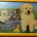 Állati Barátság Üvegfestmény, Dekoráció, Kép, Egyedi elképzelés alapján festettem üvegre ezt az aranyos állatkákat bemutató képet. Keretez..., Meska