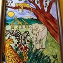 A Szavannán c. üvegfestmény, Dekoráció, Kép, Egyedi ötlet alapján, üvegfestéssel született meg e képem. Mérete: A/4 Keretezett a kép!, Meska