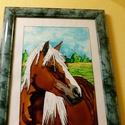 Az én édes Lovacskám üvegfestmény, Dekoráció, Kép, Gyönyörű paripát festettem meg, ajánlom azoknak, akik a lovakat kedvelik. Mérete: A/4 Gyönyö..., Meska