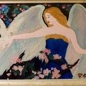 Angyali szeretet üvegfestmény, Dekoráció, Kép, Angyalok a kedvenceim. Így született meg a témája a festményemnek, melyből árad a béke és n..., Meska