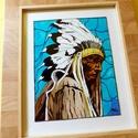 Indián Főtörzs Üvegfestmény, Otthon, lakberendezés, Falikép, Egyedi elképzelés alapján, üvegfestéssel készült ez a kép. Mérete: A/4 Keretezett! Egy indi..., Meska