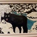 Farkasok a hóban üvegfestmény, Dekoráció, Kép, A havas természetben játszódik a jelenet a farkasok főszereplésével. Egyéni elképzelésem al..., Meska