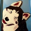 Husky kutya üvegfestmény, Dekoráció, Kép, Üvegművészet, Egy gyönyörű Husky fajtájú kutyát festettem meg üvegképként. Alkalmazott technikám: Üvegfestmény Te..., Meska