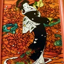 Japán tánc üvegfestmény, Dekoráció, Kép, Üvegművészet, Hangulatos, vidám képet festettem meg, melynek főszereplője egy japán hölgy. A színek is a vidámság..., Meska