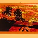 Indián nyár üvegfestmény, Dekoráció, Kép, Üvegművészet, Pálmafák, napsütés, minden, ami nyár! Saját elképzelésem alapján festettem meg ezt a képet! Ha ráné..., Meska