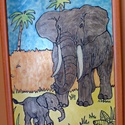 Elefántcsalád üvegfestmény, Dekoráció, Kép, Elefántanyát és kicsinyét jelenítettem meg festményemben Árad belőle a szeretet! Mérete: A/..., Meska