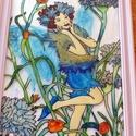 Virágtündér üvegfestmény, Dekoráció, Kép, Egyedi elképzelésem alapján festettem meg a képet! Hangulatos, vidám! Mérete: A/4 A kép keret..., Meska