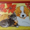 Kutya-macska barátság üvegfestmény, Dekoráció, Kép, Üvegművészet, Egyedi elképzelésem alapján festettem meg ezt a képet, ami jól példázza, hogy létezik kutya-macska ..., Meska