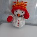 Hóember gyöngyből, Dekoráció, Dísz, Rengeteg gyöngyből készítettem egyedi elképzelésem alapján ezt az aranyos hóembert. Magassá..., Meska