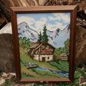 """Gobelin """"Ház az Alpokban"""", Otthon, lakberendezés, Dekoráció, Falikép, Gobelin, Hímzés, Kézi Gobelin hímzés üvegezett fa keretben. Mérete: 38 x 48 cm., Meska"""