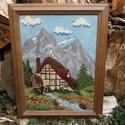 """Gobelin """"Vízimalom az Alpokban"""", Otthon, lakberendezés, Dekoráció, Falikép, Gobelin, Hímzés, Kézi Gobelin hímzés üvegezett fa keretben. Mérete: 38 x 48 cm., Meska"""