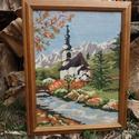"""Gobelin """"Templom az Alpokban"""", Otthon, lakberendezés, Dekoráció, Falikép, Gobelin, Hímzés, Kézi Gobelin hímzés üvegezett fa keretben. Mérete: 38 x 48 cm., Meska"""