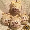 Ücsörgő angyalkák gömbök , Dekoráció, Karácsonyi, adventi apróságok, Ünnepi dekoráció, Karácsonyfadísz, Kottán ücsörgő angyalkák képeivel diszitett 9 cm-es polisztirol alapú karácsonyi gömbök. A..., Meska