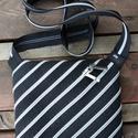 cipzártáska  ezüst fekete átlós Mini, Táska, Válltáska, oldaltáska, Mini cipzártáska (Kb. 20x18cm, szára kb 110cm)  Esti kimozduláshoz tökéletes kicsi táska, elf..., Meska