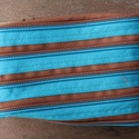 tárca  barna-türkiz cipzárspirálból, Táska, Pénztárca, tok, tárca, ZipTárcák (kb. 15x10cm)  Ezek a tárcák bár csak egyetlen rekeszből állnak, jól használható..., Meska