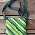 cipzártáska átlós zöld Mini , Táska, Válltáska, oldaltáska, Mini cipzártáska (Kb. 20x18cm, szára kb 110cm)  Esti kimozduláshoz tökéletes kicsi táska, elf..., Meska