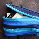 tárca  kék-sötétkék cipzárspirálból, Táska, Pénztárca, tok, tárca, ZipTárcák (kb. 15x10cm)  Ezek a tárcák bár csak egyetlen rekeszből állnak, jól használható..., Meska