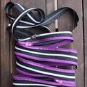 cipzártáska fekete-ezüst-lila Mini, Táska, Válltáska, oldaltáska, Mini cipzártáska (Kb. 20x18cm, szára kb 110cm)  Esti kimozduláshoz tökéletes kicsi táska, elf..., Meska