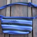 övtáska kék fekete cipzárspirál, Táska, Férfiaknak, Férfi táska, Férfi övtáska (Kb. 21x12cm, állítható övszárral, műanyag csattal)  Tökéletes ajándék le..., Meska