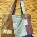 Lenvászon táska, Táska, Válltáska, oldaltáska, Mindkét oldala más ennek a lenvászon táskának, vállon is, kézben is kényelmesen viselhető. ..., Meska