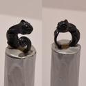 Kaméleonos gyűrű, Ékszer, óra, Gyűrű, Süthető gyurmából készült kis kaméleonos gyűrű., Meska