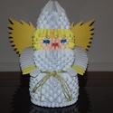 3D Origami Angyal, Képzőművészet, Dekoráció, Dísz, 3D Origami technikával,hajtogatással készült termék. 20cm magas., Meska