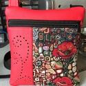 Pipacsos oldaltáska, Táska, Válltáska, oldaltáska, Pipacs mintás bútorszövet és piros színű műbőr anyag kombinációja ez az oldaltáska.Az ele..., Meska