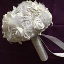Fehér álom, Esküvő, Esküvői csokor, Mindenmás, Virágkötés, Menyasszonyi örök csokor,csupa szépséges virágból,amiket magam készítettem. Különböző minőségű anya..., Meska