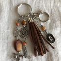 Western kulcstartó,táskadísz, Romantikus hangulatú kulcstartó. Barna és fém ...