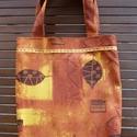 Narancs-barna-sárga levélmintás bevásárló táska/szatyor, Táska, Divat & Szépség, Táska, Válltáska, oldaltáska, Szatyor, Az őszi színek kedvelőinek ajánlom ezt az avar színű (narancs-barna-sárga) levélmintás, erős bútorvá..., Meska