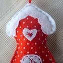 Mézeskalács házikó (piros-fehér pöttyös), Dekoráció, Karácsonyi, adventi apróságok, Ünnepi dekoráció, Karácsonyi dekoráció, Karácsonyi dekoráláshoz, ajándékdíszítéshez ajánlom, ezt a kézzel készült piros színű,..., Meska