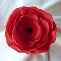 Piros pipacs ponge selyemvirág kitűző , Ékszer, Bross, kitűző, Ha a kedvenced a pipacsokat, akkor neked ajánlom ezt a piros színű, több rétegű kb.8,5 cm átm..., Meska
