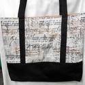 Drapp-fekete kotta mintás táska (elől zsebes), Táska, Válltáska, oldaltáska, Varrás, Zenebarátoknak, zenészeknek, ének-zene tanároknak ajánlom ezt a nagyobb méretű, mágneszárral záródó..., Meska