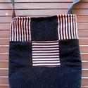 Rózsaszín-fekete patchwork táska, Táska, Válltáska, oldaltáska, Ezt a rózsaszín-fekete csíkos mikrokordból és fekete plüssbársonyból patchwork technikával ..., Meska