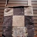 Sötétbarna-drapp patchwork táska, Táska, Válltáska, oldaltáska, Ezt a sötétbarna hímzett és drapp színű mikrokordból  patchwork technikával készült, tásk..., Meska