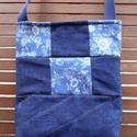 Rózsás farmer patchwork táska, Táska, Válltáska, oldaltáska, Ezt a rózsa mintás és sötétkék farmerből patchwork technikával készült, táskamerevítős ..., Meska