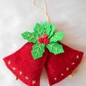 Kettős csengettyű/harang (piros), Dekoráció, Ünnepi dekoráció, Karácsonyi, adventi apróságok, Varrás, Karácsonyi dekoráláshoz vagy ajándékozáshoz ajánlom ezt a kettős piros színű levelekkel díszített, ..., Meska