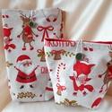 2 db-os textil ajándéktasak karácsonyra-mikulásra (mikulásos-rókás-szarvasos), Dekoráció, Ünnepi dekoráció, Karácsonyi, adventi apróságok, Ajándékzsák, Varrás, Ajándékozáshoz ajánlom karácsonyra vagy mikulásra ezt a két darabból álló textil ajándéktasakot, me..., Meska