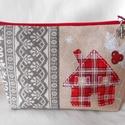 Skandináv stílusú, házikó mintás neszesszer (egyenes tetejű), Táska, Neszesszer, Varrás, Akár karácsonyi ajándék is lehet, ez a drapp alapon skandináv stílusú, házikó mintás bútorvászonból..., Meska